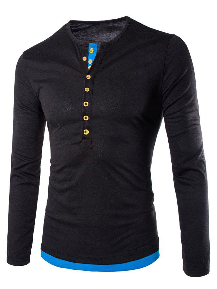 Affordable Color Spliced Button Decoration Long Sleeves T-shirt