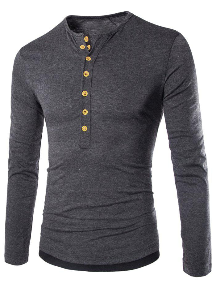 Latest Color Spliced Button Decoration Long Sleeves T-shirt