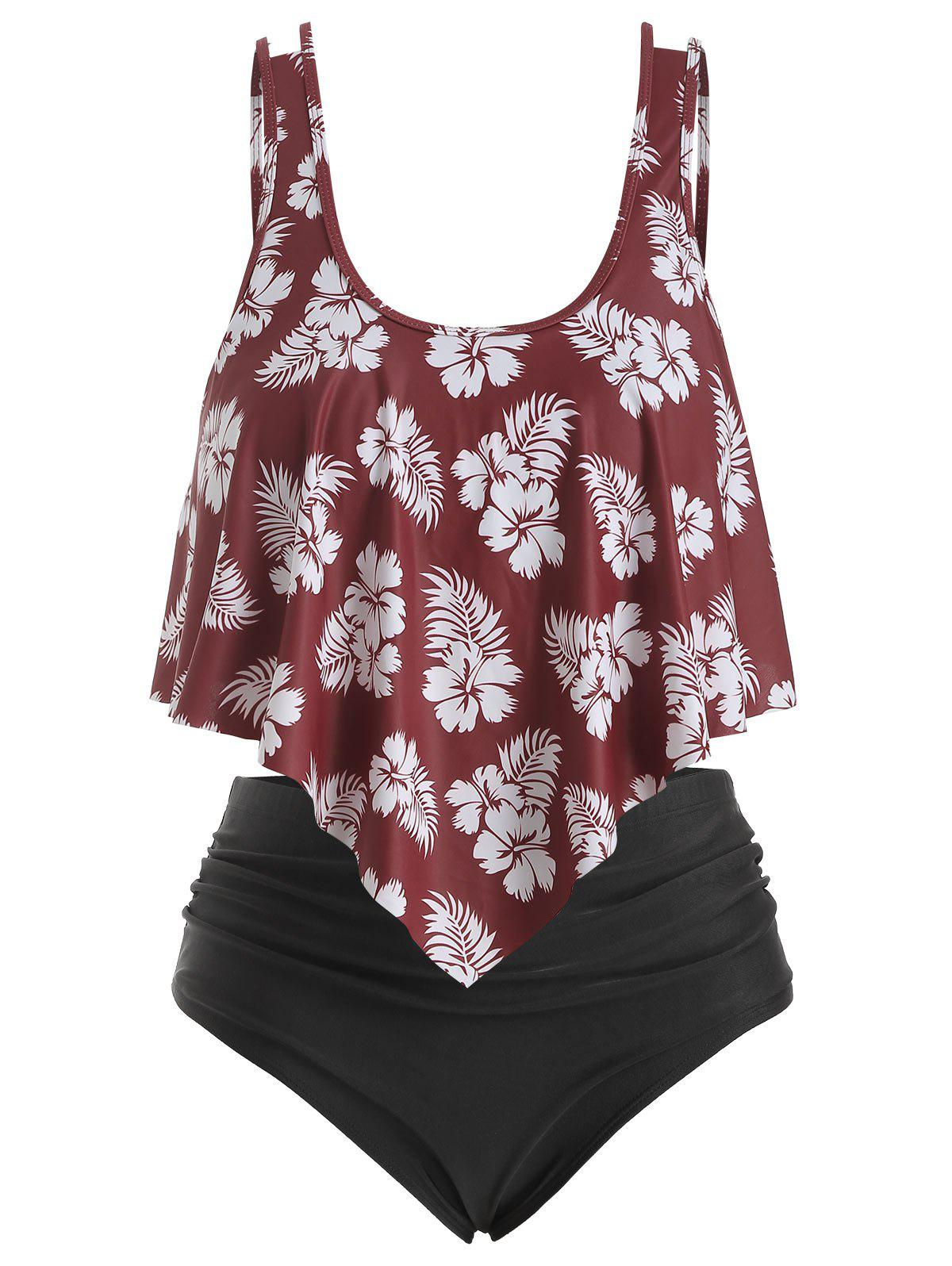 Cheap Overlay Ruffles Floral Leaves Print Plus Size Tankini Swimsuit