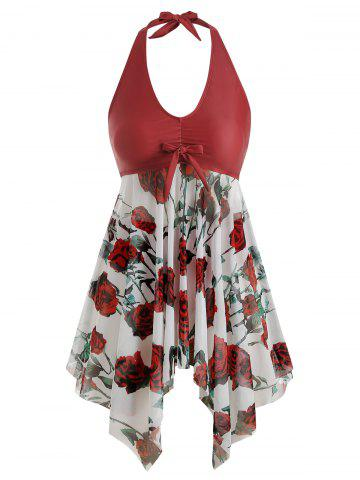 Bowknot Contrast Sunflower Floral Butterfly Plus Size Tankini Set