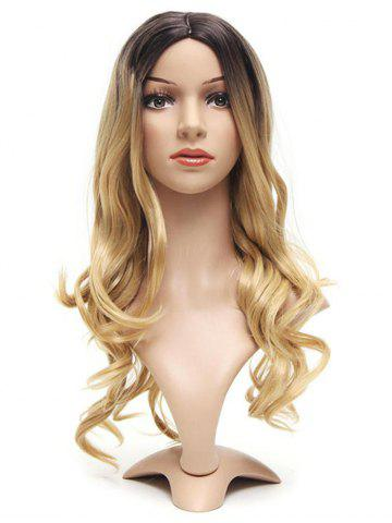 Ombre Center Part Long Body Wave Synthetic Wig