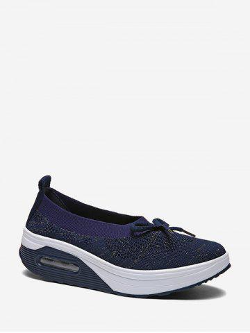 Woven Breathable Bow Platform Sneakers