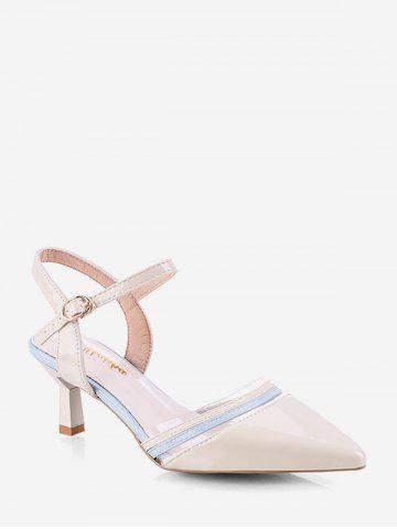 Pointed Toe Two Tone Stiletto Heel Sandals