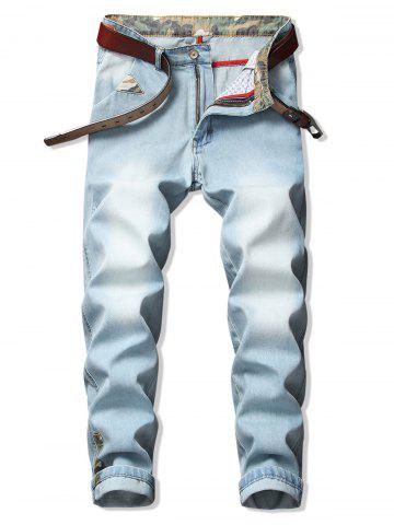 Camo Trim Washed Casual Denim Pants