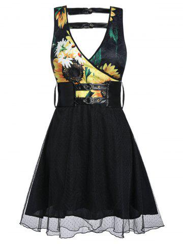 Sunflower Print Mesh Insert Plunge Neck Belted Dress