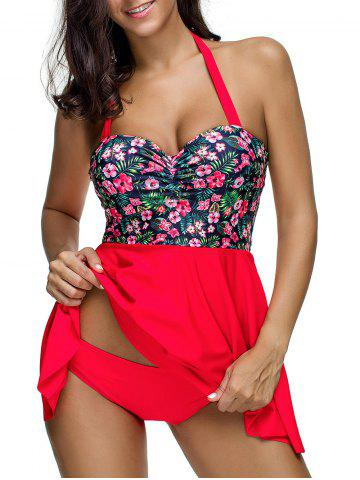 Floral Print Halter Ruched Tankini Swimsuit