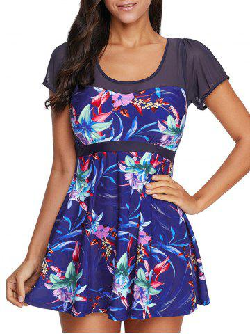 Mesh Panel Flower Print One-piece Skirted Swimsuit