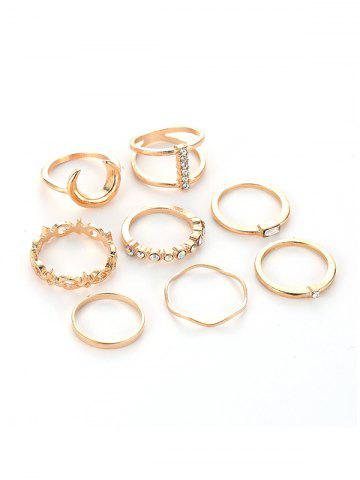 8Pcs Rhinestone Moon Ring Set