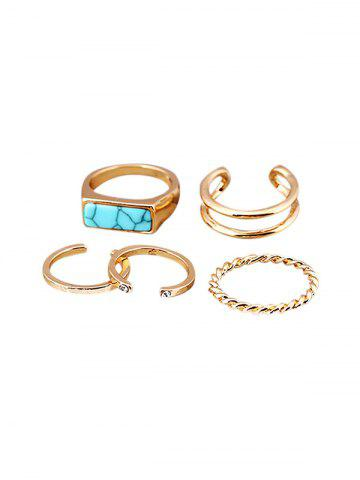 Artificial Turquoise Rhinestone Ring Set