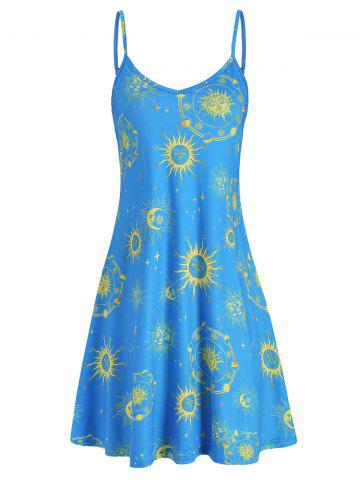 Sun Moon and Star Print Flare Cami Dress