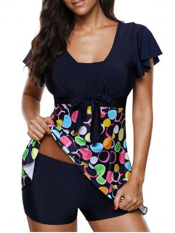 Short Sleeves Bownot Circle Print Two Piece Swimsuit