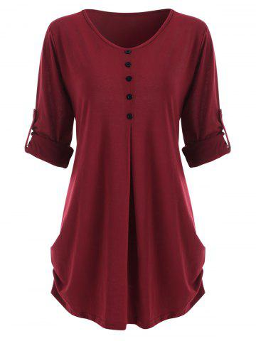 Plus Size Buttons Roll Up Sleeve Curved Tee