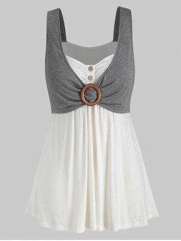 Plus Size Contrast Sweetheart Collar Button Tank Top