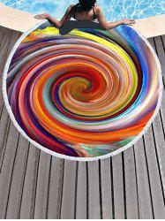 Rainbow Vortex Pattern Fringed Beach Throw -