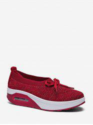 Woven Breathable Bow Platform Sneakers -
