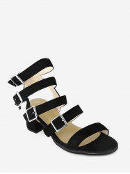 Buckle Strap Cadged Chunky Heel Sandals -