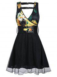 Sunflower Print Mesh Insert Plunge Neck Belted Dress -