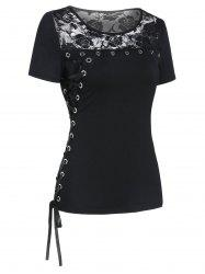 Grommet Lace Up Lace Panel Sheer Tee -