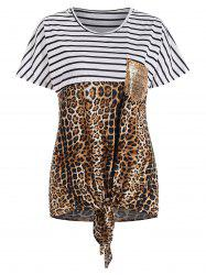 Striped and Leopard Print Knot Front Sequined Pocket T-shirt -