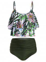 Floral Print Tiered Overlay Tankini Swimsuit -