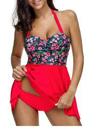 Floral Print Halter Ruched Tankini Swimsuit -