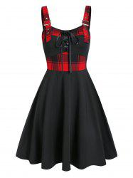 Lace Up Plaid Panel A Line Dress -