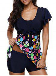 Short Sleeves Bownot Circle Print Two Piece Swimsuit -