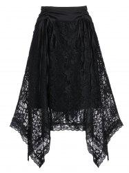 High Rise Lace Asymmetrical Cinched Skirt -