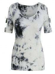 Cut Out Tie Dye Short Sleeve T Shirt -
