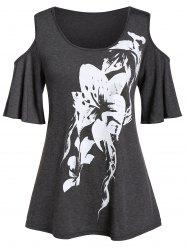 Plus Size Open Shoulder Floral Print Round Collar T Shirt -