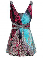 Printed Plunging Neck Sequined Tank Top -