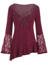 Mesh Embroidery Lace Panel Flounce Long Sleeve Tee -
