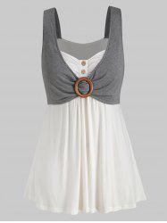 Plus Size Contrast Plaid Sweetheart Collar Button Tank Top -
