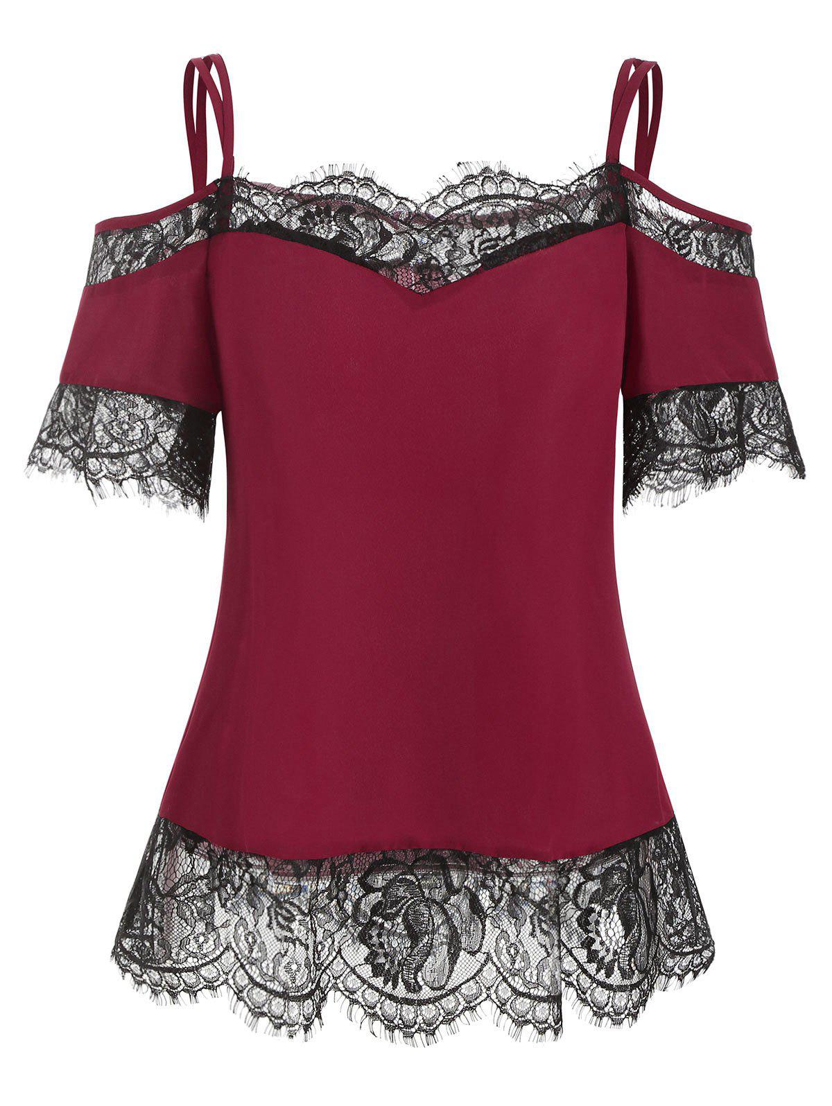 Outfits Lace Panel Open Shoulder Spaghetti Strap T Shirt