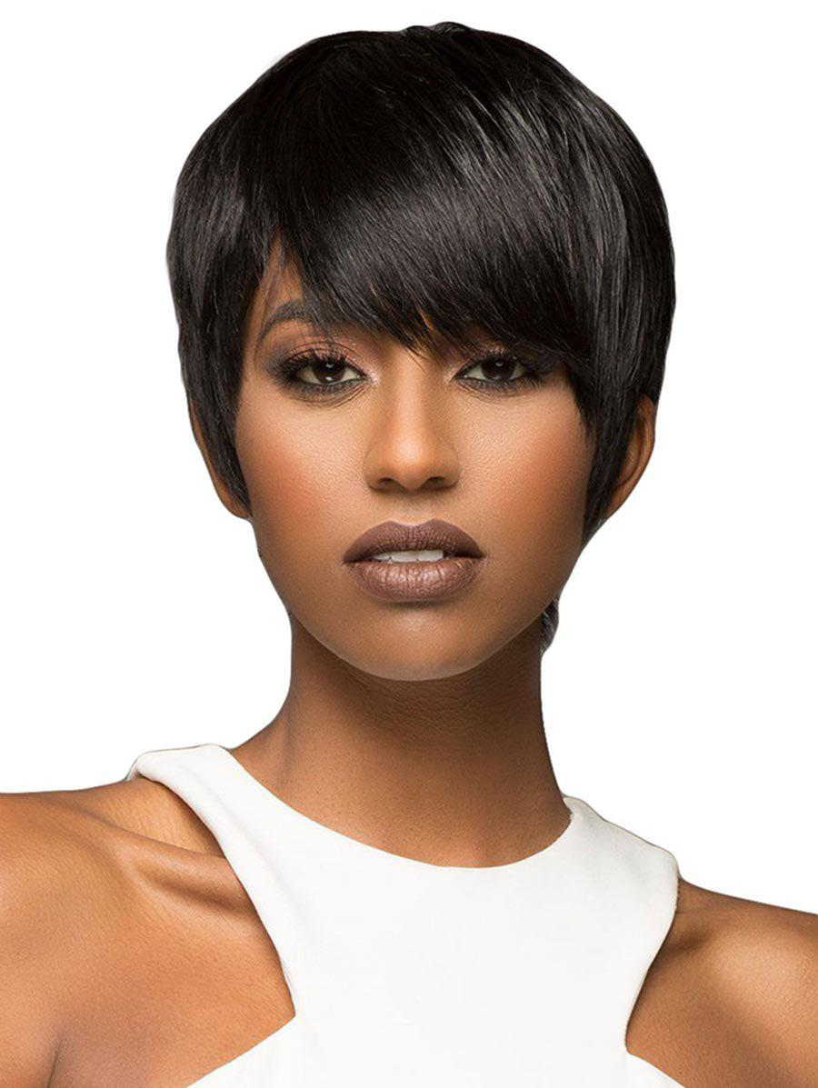 Shop Side Bang Straight Short Synthetic Front Lace Wig