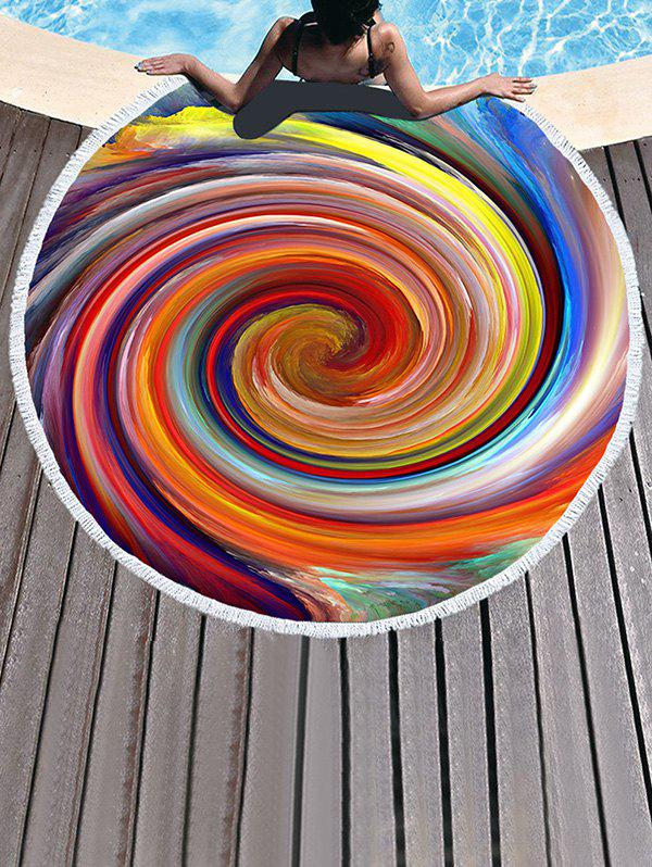 New Rainbow Vortex Pattern Fringed Beach Throw
