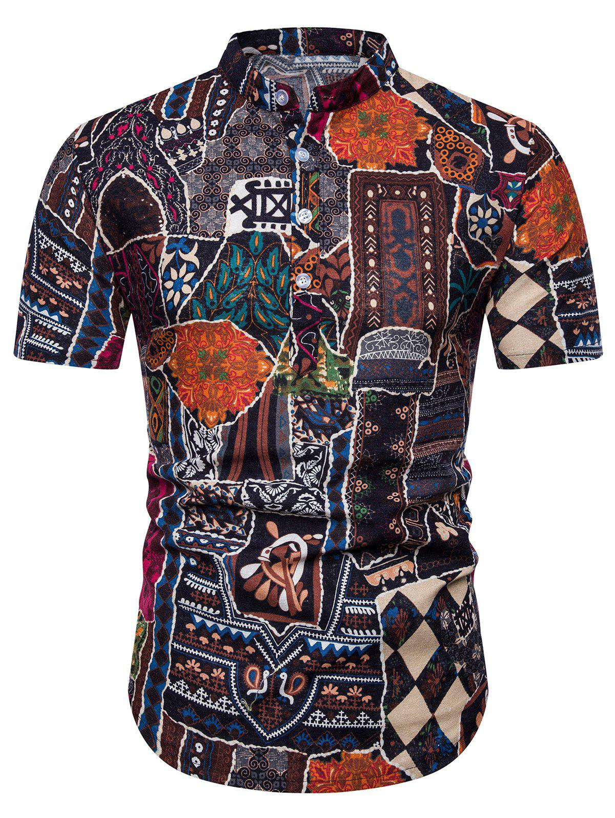 Affordable Ethnic Flower Print Stand Collar Half Button Shirt