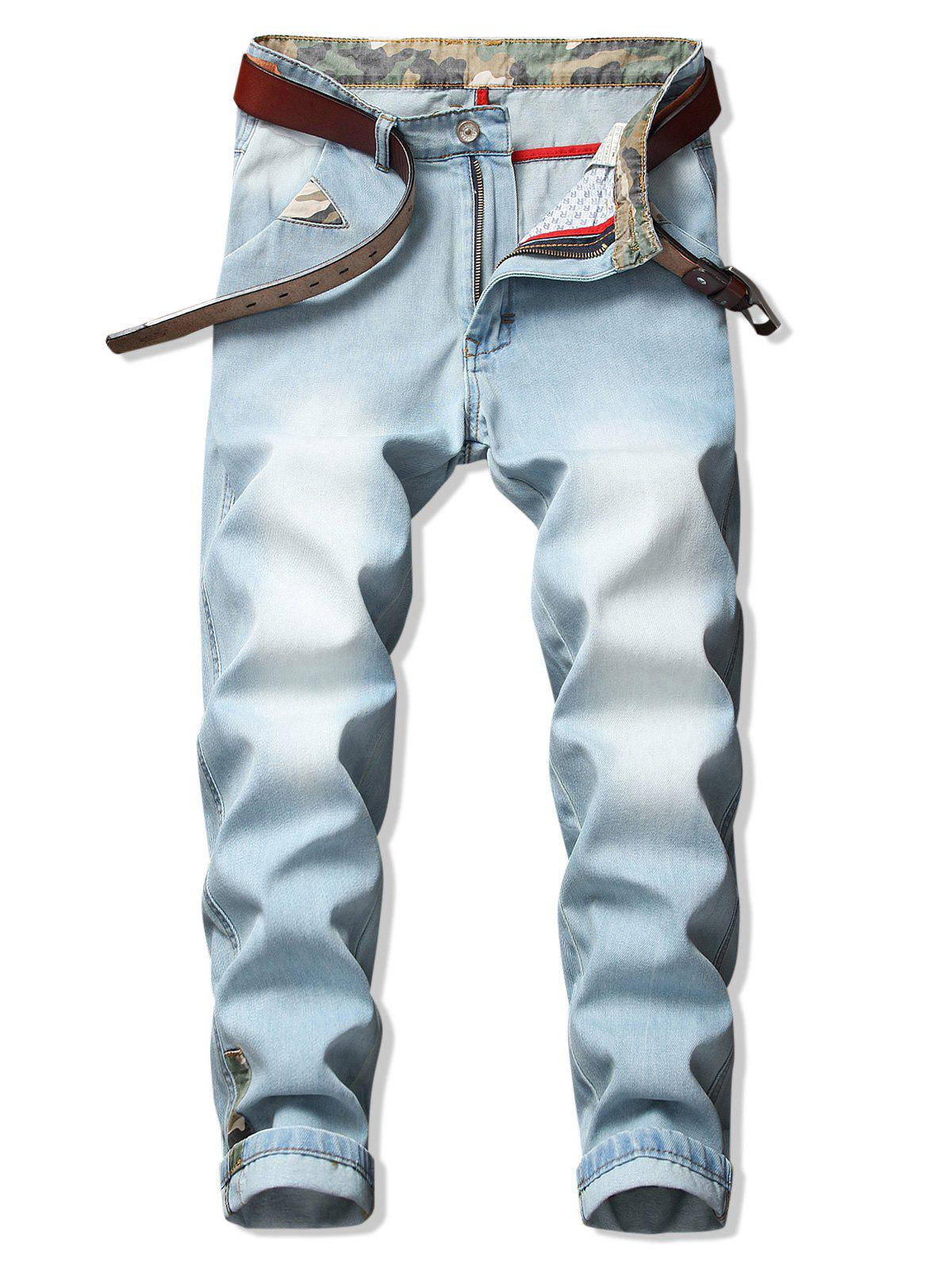 Fancy Camo Trim Washed Casual Denim Pants