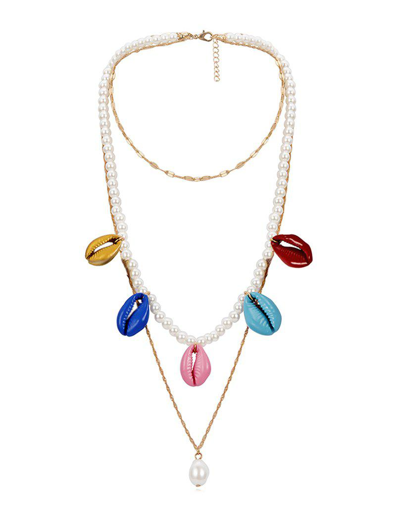 Sale Faux Pearl Conch Layered Pendant Necklace