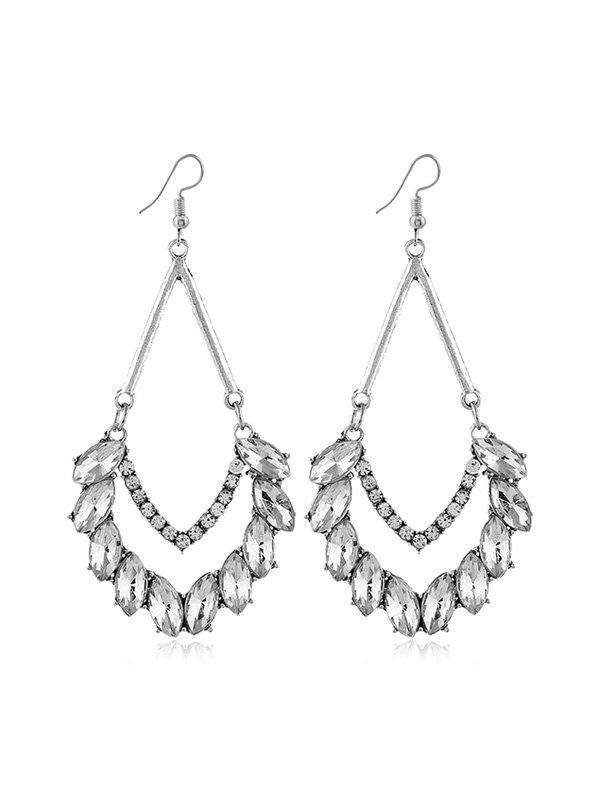 Online Rhinestone Water Drop Chandelier Earrings