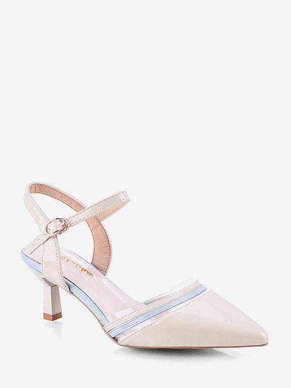 Sale Pointed Toe Two Tone Stiletto Heel Sandals