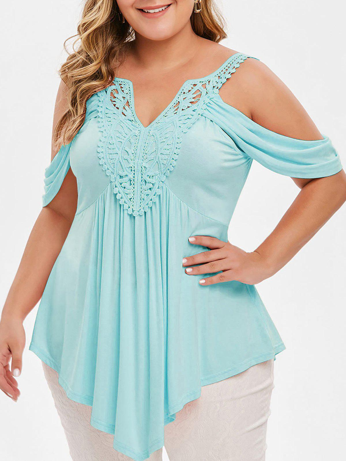New Plus Size Asymmetrical Lace Crochet Cold Shoulder T-shirt