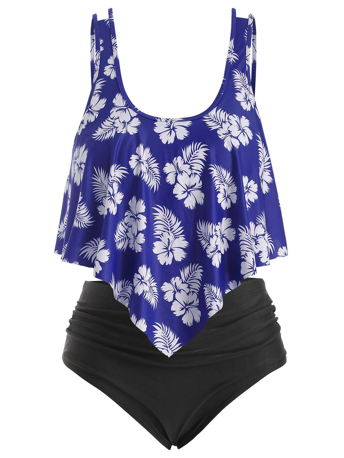 Latest Overlay Ruffles Floral Leaves Print Plus Size Tankini Swimsuit