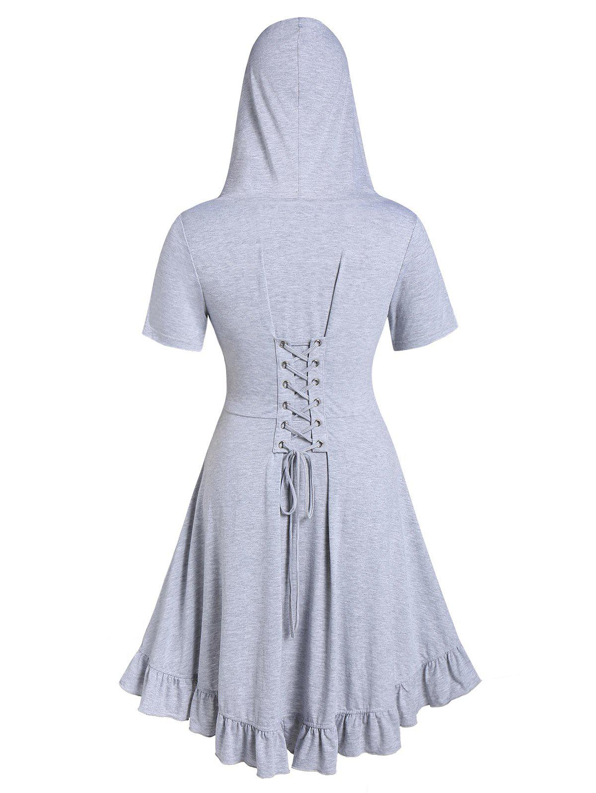 Discount Plus Size Lace Up Hooded Ruffle Coat