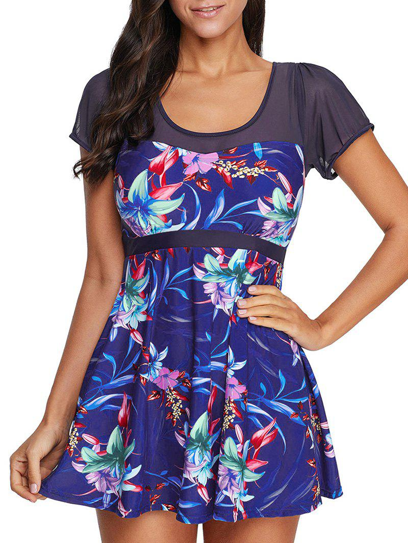 Outfit Mesh Panel Flower Print One-piece Skirted Swimsuit