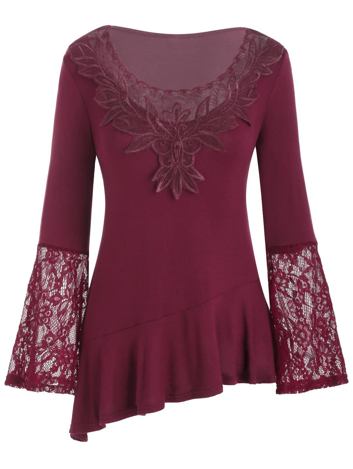 Fancy Mesh Embroidery Lace Panel Flounce Long Sleeve Tee