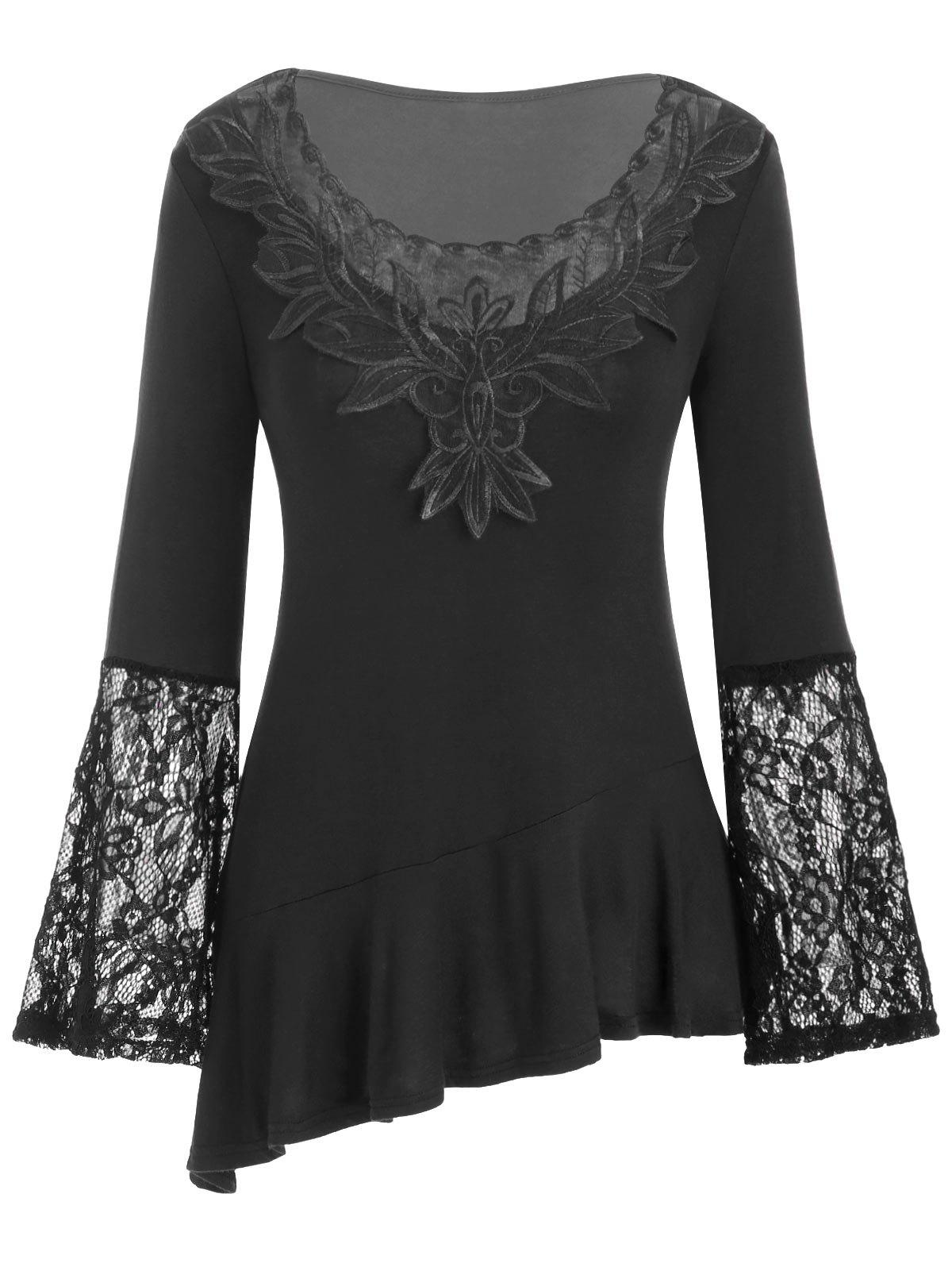 Chic Mesh Embroidery Lace Panel Flounce Long Sleeve Tee