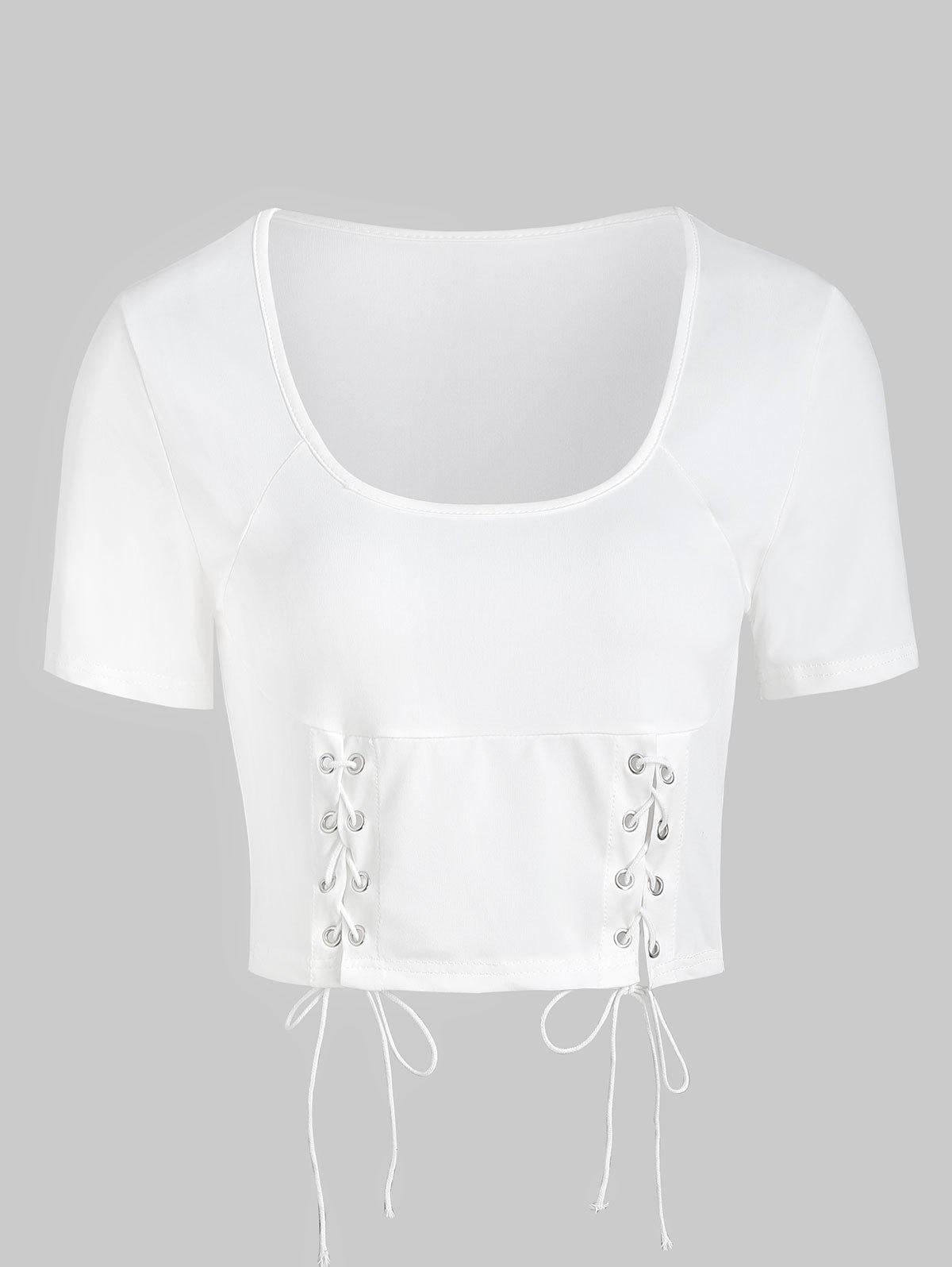 Outfits Scoop Neck Lace Up Crop T-shirt