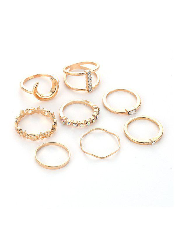 Discount 8Pcs Rhinestone Moon Ring Set
