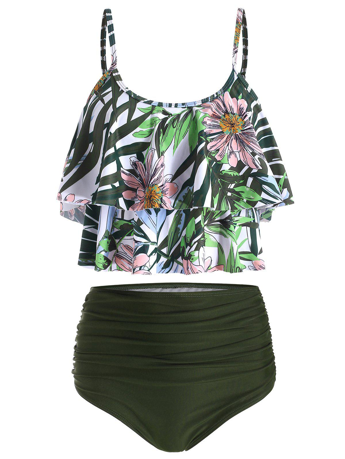 Affordable Floral Print Tiered Overlay Tankini Swimsuit
